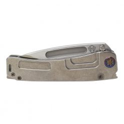 Medford Marauder H S35VN Drop Point Blade Tumbled Titanium Handle Flamed Hardware Front Side Closed