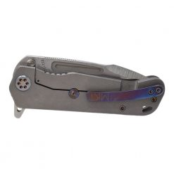 Medford Proxima Flipper S35VN Blade Tumbled Titanium Handle Flamed Hardware Back Side Closed
