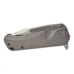 Medford Proxima Flipper S35VN Blade Tumbled Titanium Handle Flamed Hardware Front Side Closed