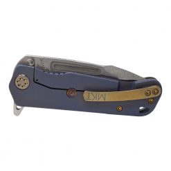 Medford Proxima Flipper S35VN Blade Flamed/Blue Titanium Handle Brushed Bronze Hardware Back Side Closed