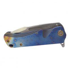 Medford Proxima Flipper S35VN Blade Flamed/Blue Titanium Handle Brushed Bronze Hardware Front Side Closed