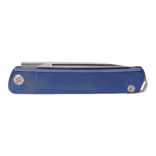 Medford Gentleman Jack S35VN Blade Blue Titanium Handle with Lasered American Flag Back Side Closed