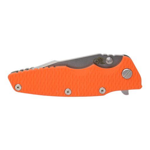 "Hinderer Eklipse 3.5"" Harpoon Spanto CPM 20CV Stonewash Blade Titanium Frame Orange G-10 Handle Front Side Closed"