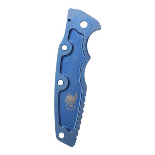 """Hinderer Eklipse 3.5"""" Textured Titanium Scale Stonewash Blue Back Side"""
