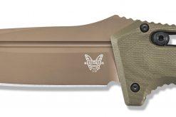 Benchmade Auto Adamas Flat Earth CPM-CruWear Blade OD Green G-10 Handle Blade Close Up