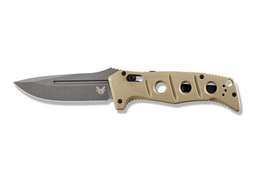 Benchmade Auto Adamas Grey CPM-CruWear Blade Desert Tan G-10 Handle Front Side Open