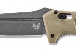 Benchmade Auto Adamas Grey CPM-CruWear Blade Desert Tan G-10 Handle Blade Close Up