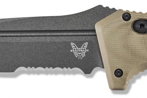 Benchmade Auto Adamas Grey CPM-CruWear Combo Blade Desert Tan G-10 Handle Blade Close Up