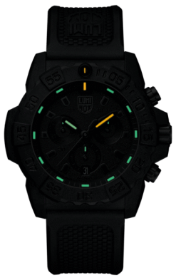 Luminox Navy SEAL Chronograph 3580 Series 3581.BO Black/Black Front Side Closed Center Night