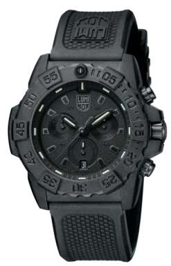 Luminox Navy SEAL Chronograph 3580 Series 3581.BO Black/Black Front Side Closed Angled