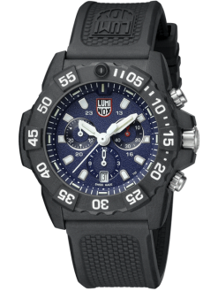 Luminox Navy SEAL Chronograph 3580 Series 3583 Black/Blue Front Side Closed Angled