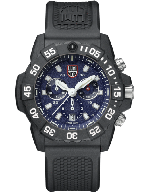 Luminox Navy SEAL Chronograph 3580 Series 3583 Black/Blue Front Side Closed Center