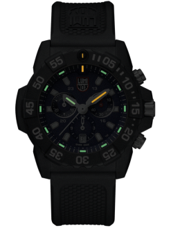 Luminox Navy SEAL Chronograph 3580 Series 3583 Black/Blue Front Side Closed Night
