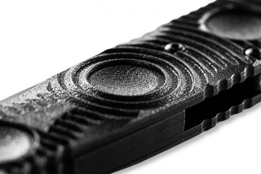Benchmade SOCP Tactical Folder FPR Black D2 Combo Blade Black CF-Elite Handle Dimple Close Up