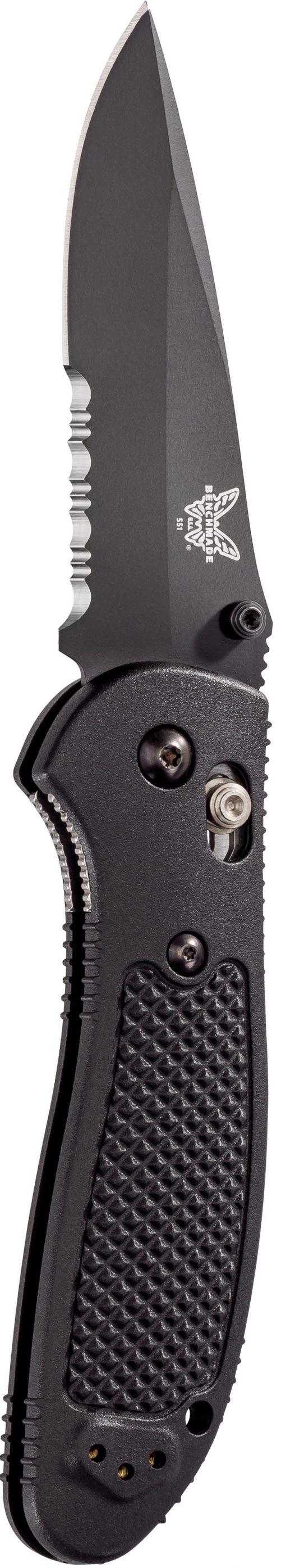 Benchmade Griptilian Black S30V Drop Point Combo Blade Black Nylon Handle Front Side Open Up