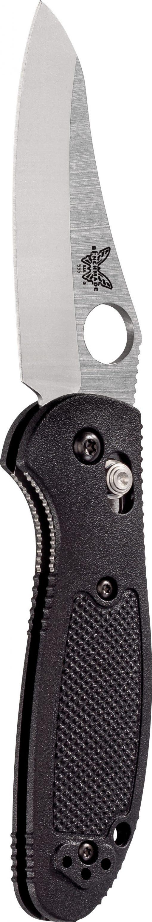 Benchmade Mini Griptilian S30V Blade Black Nylon Handle Front Side Open Up