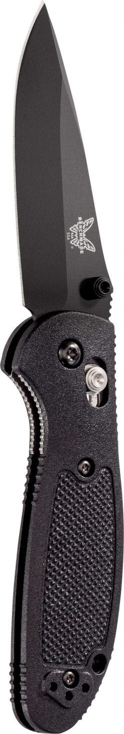 Benchmade Mini Griptilian Black S30V Drop Point Blade Black Nylon Handle Front Side Open Up