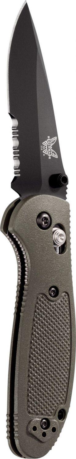Benchmade Mini Griptilian Black S30V Drop Point Combo Blade OD Green Nylon Handle Front Side Open Up