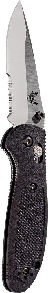 Benchmade Mini Griptilian S30V Drop Point Combo Blade Black Nylon Handle