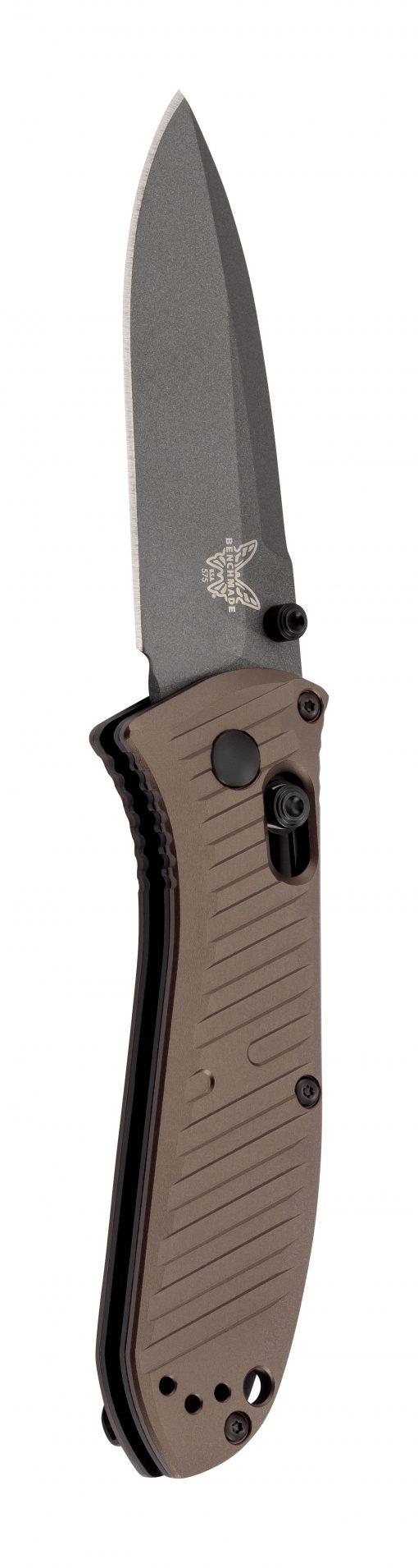 Benchmade Mini Presidio II Gray M4 Blade Burnt Bronze Aluminum Handle Front Side Open Up