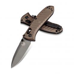 Benchmade Mini Presidio II Gray M4 Blade Burnt Bronze Aluminum Handle Both