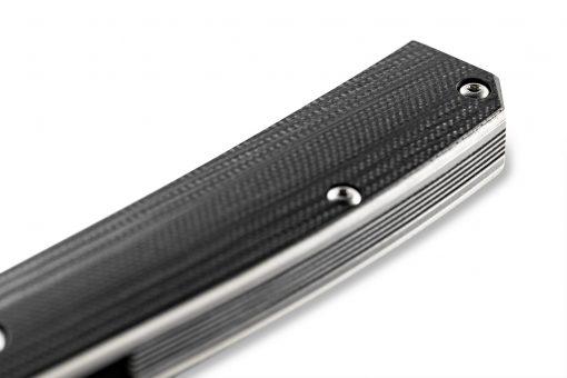 Benchmade Tengu Flipper 20CV Tanto Blade Black G-10 Handle Scale Close Up