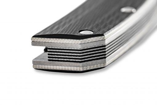 Benchmade Tengu Flipper 20CV Tanto Blade Black G-10 Handle Spine Close Up
