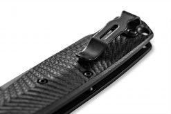 Benchmade Mediator Auto Black S90V Combo Blade Black G-10 Handle Pocket Clip Close Up