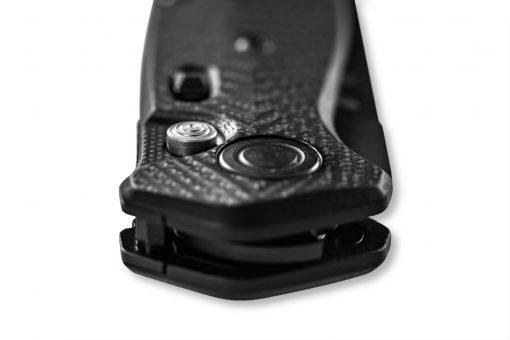 Benchmade Mediator Auto Black S90V Combo Blade Black G-10 Handle Spine Close Up