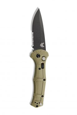 Benchmade Claymore Auto Black D2 Combo Blade Ranger Green Grivory Handle Front Side Open Up