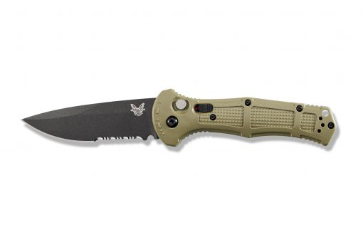 Benchmade Claymore Auto Black D2 Combo Blade Ranger Green Grivory Handle Front Side Open