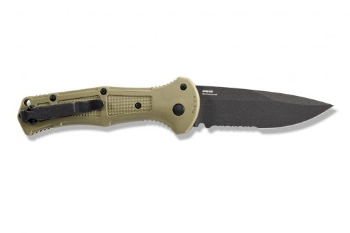 Benchmade Claymore Auto Black D2 Combo Blade Ranger Green Grivory Handle Back Side Open