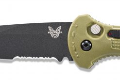 Benchmade Claymore Auto Black D2 Combo Blade Ranger Green Grivory Handle Blade Close Up
