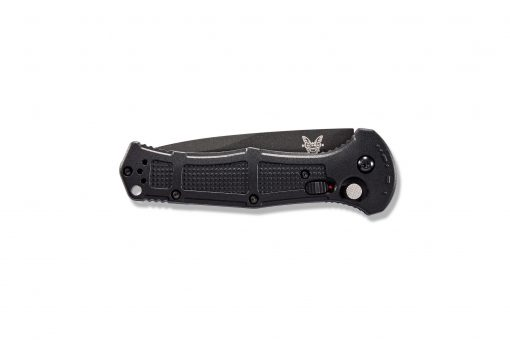 Benchmade Claymore Auto D2 Combo Blade Black Grivory Handle Front Side Closed