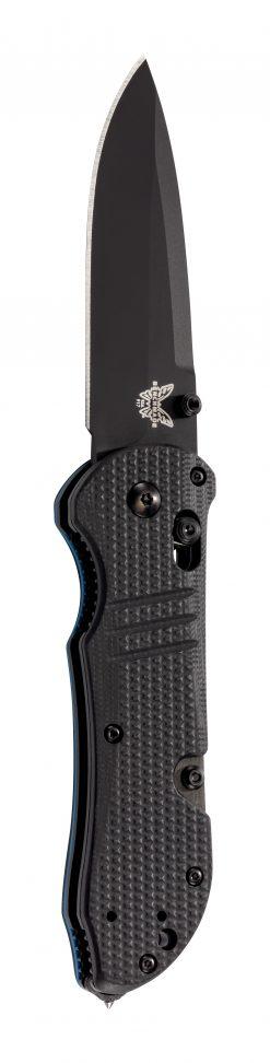 Benchmade Tactical Triage Black S30V Blade Black G-10 Handle Blue Liner Front Side Open Up