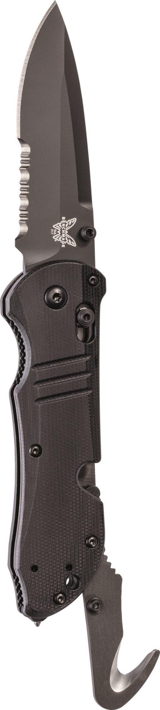 Benchmade Tactical Triage Black S30V Blade Black G-10 Handle Blue Liner Front Side Open Up Cutter Open