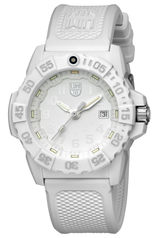 Luminox Navy SEAL 3500 Series 3507.WO White/Silver Front Side Closed Angled