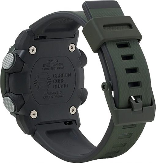 G-Shock Analog Digital Men's Watch OD Green GA2000-3A Back Side Closed Angled