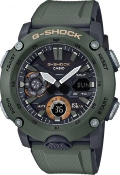 G-Shock Analog Digital Men's Watch OD Green GA2000-3A Front Side Closed Center Angled
