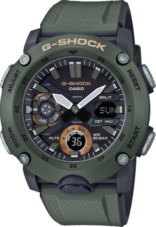 G-Shock Analog Digital Men's Watch OD Green GA2000-3A Front Side Closed Center Angled