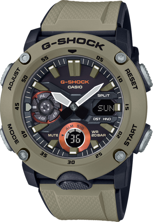 G-Shock Analog Digital Men's Watch Brown GA2000-5A Front Side Closed Center Angled
