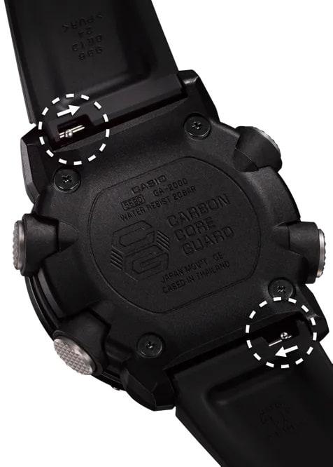 G-Shock Analog Digital Men's Watch OD Green GA2000-3A Back Side Case Close Up