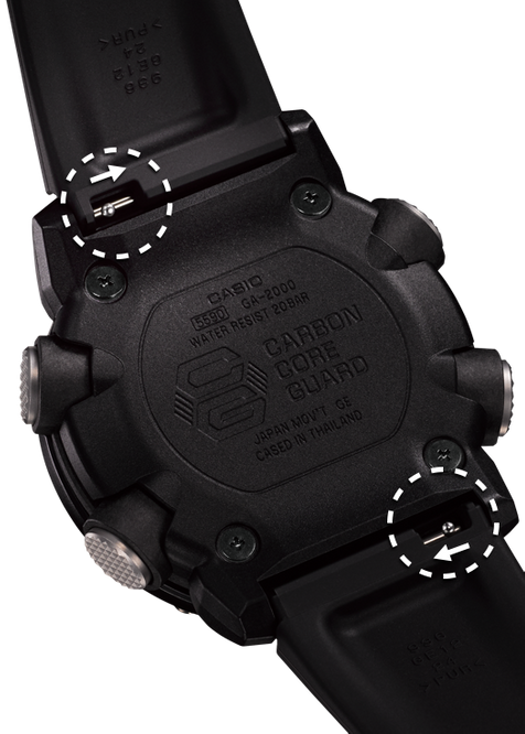 G-Shock Analog Digital Men's Watch Brown GA2000-5A back Side Case Close Up