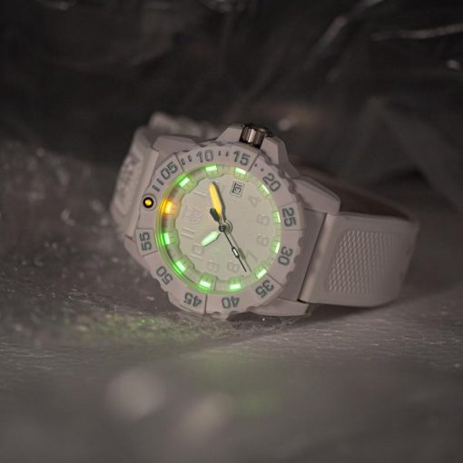 Luminox Navy SEAL 3500 Series 3507.WO White/Silver Front Side Closed Angled With Background
