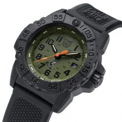 Luminox Navy SEAL 3500 Series XS.3517 OD Green/OD Green Front Side Case Close Up