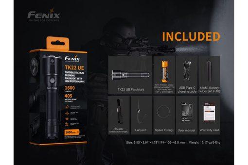 Fenix TK22UE Tactical Flashlight - 1600 Lumens Infographic 8