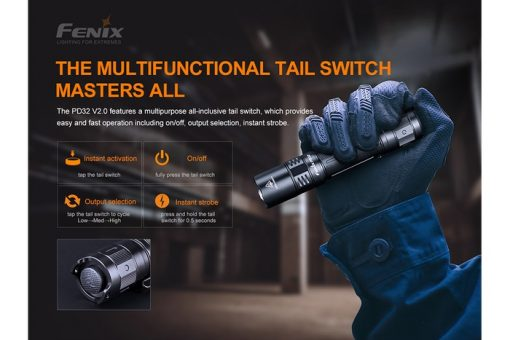 Fenix PD32 V2.0 Compact Flashlight - 1200 Lumens Infographic 7