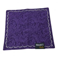 Mighty Hanks Handkerchief Purple Paisley Mighty Mini with Microfiber Open