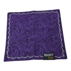 Mighty Hanks Handkerchief Purple Paisley Mighty Mini with Microfiber Open