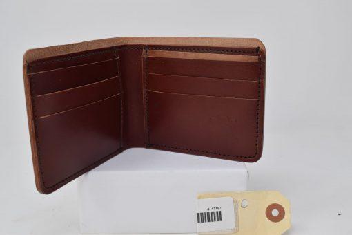 Grommet's Leathercraft Bifold Herman Oak Red Brown Wallet Temporary Open